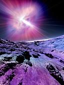 Alien planet and pulsar,illustration