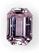 Cut pink-violet Kunzite gemstone