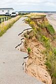 A collapsed coastal road at Barmston