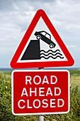 A collapsed coastal road near Aldbrough