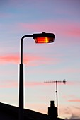 Sunset and a street light in Ambleside