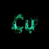 Flaming copper symbol Cu