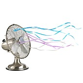 Domestic fan showing air movement