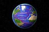 Atlantic Ocean Currents,illustration