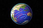 Indian Ocean Currents,illustration