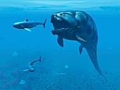 Dunkleosteus hunting primitive sharks
