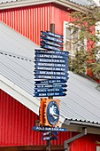 Signposts with distances to world cities