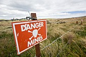 A warning sign about mines