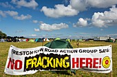 A protest banner against fracking