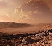 Dust storm on Mars,artwork