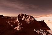 Martian impact crater,artwork