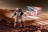 US astronaut on Mars,artwork