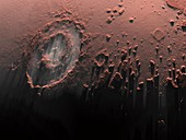 Complex crater on mars,artwork