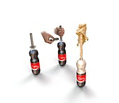 Cola and Mentos experiment,illustration
