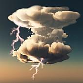 Cumulonimbus storm cloud,illustration