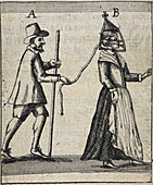 Man with a woman on a lead,illustration