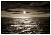 Full moon over an ocean,illustration