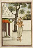 Brahmin blowing conch shell,illustration