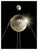 Sputnik 1 in orbit,illustration