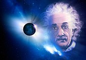 Solar eclipse and Einstein,illustration