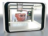 3D printed face,conceptual image