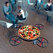 Food delivery drone,conceptual image