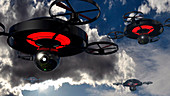 Security drones,illustration