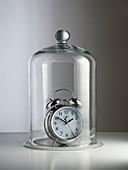 Alarm clock inside a bell jar