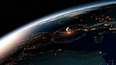 Asteroid impact in Europe,illustration