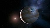 Comet approaching Jupiter,illustration