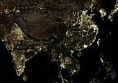 Asia at night,satellite image