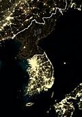 Korean Peninsula at night