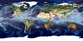 Global precipitation,GEOS simulation