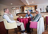 Elderly people at a care home