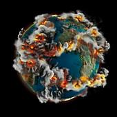 Doomsday volcanoes,illustration