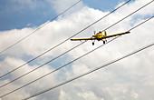 Crop duster and electricity power lines
