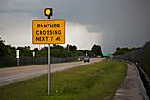 Panther warning sign,Florida,USA