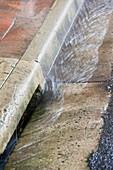 Rainfall in gutter