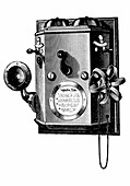 Edison telephone in a wall-mounted box