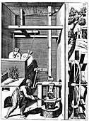 Forge showing bellows and hammer
