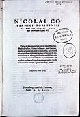 Title page of De revolutionibus