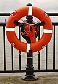 Life belt on quayside