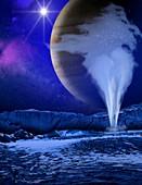 Water plume on Europa,illustration