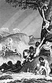 The Great Flood,19th C illustration