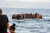 Syrian refugees arriving on Greek island