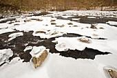Partially frozen river