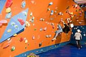 Children on a climbing wall