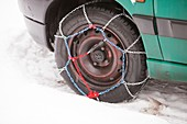Car with snow chains