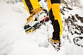 Ice climbers on an icefall