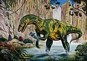 Baryonyx dinosaur fishing,illustration